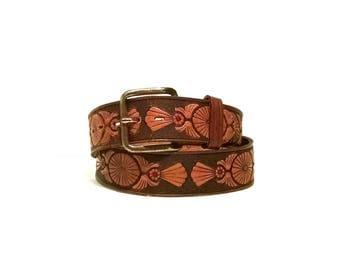 Vintage hand painted tooled leather belt
