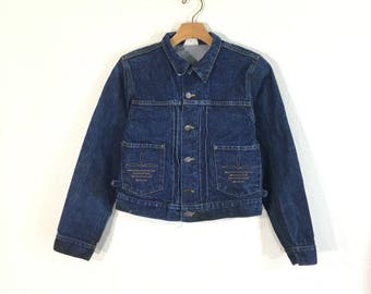 rare 70's vintage polo ralph lauren pleated denim jean jacket