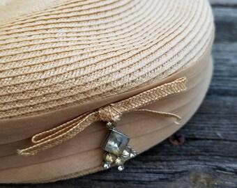 1950s Vintage Straw Pillbox Hat/Beige Hat/Vintage Hat/Formal Hat