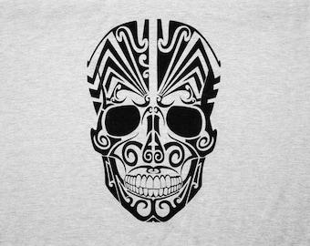 Sugar Skull T-Shirt - Mens Streetwear - Heather Grey Crew Neck, White/Black Print