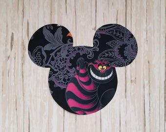 "BIG 5"" x 6"" Disneyland Halloween Cheshire Cat Alice Wonderland Mickey Minnie Mouse Fabric Iron On Applique DIY No Sew, Family Matching Shirt"