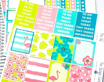 Bright Flamingo Weekly Kit | Planner Stickers, Weekly Kit, summer Weekly Kit, beach Weekly Kit, island holiday, Vertical Kit, at the beach