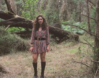 Evergreen Paisley Mini Dress