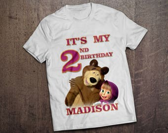 Masha and the bear Iron On Transfer. PERSONALIZED Masha and the bear Birthday Shirt. Masha e orso Birthday Shirt. DIGITAL FILE