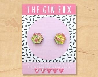Pink Iridescent Stud Earrings • Pink Iridescent Earrings • Mermaid  • Iridescent shimmer • Handmade Earrings • Wooden Earrings •