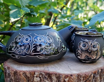 Housewarming-gift-for-couple Teapot and two cups Ceramic tea set Romantic-gifts-for-her Anniversary gifts parents gift wedding Homeware gift