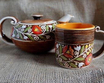 Teachers gifts Home sweet home gifts Ceramic set for tea Pottery tea set Hostess gift Rustic tea pot Tea ceremony Mug ceramic teapot set