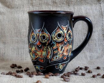 Large mug Coffee mug Owls Sister mug Big mug Black mug Friend mug Tea mug Wife mug Wife cup Owl gifts for women best friend gift under 25