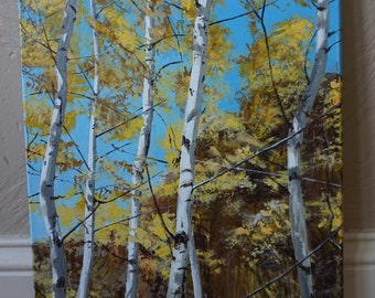 Aspens in fall acrylic painting