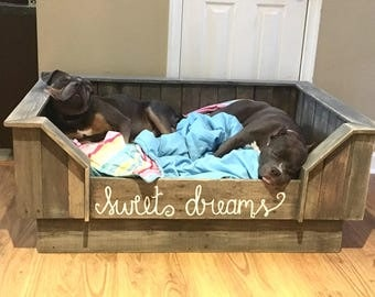Handcrafted Upcycled Wood / Pallet Dog Bed / Wooden Dog Bed / Personalized Dog Bed