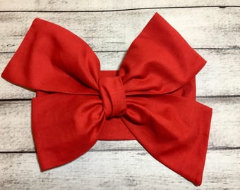 Red Headwrap Valentine Baby Headband, Toddler Big Bow Headwrap, Headband, Turban Headwrap, Infant Headwrap, Baby Girl Bows Over Sized Tied