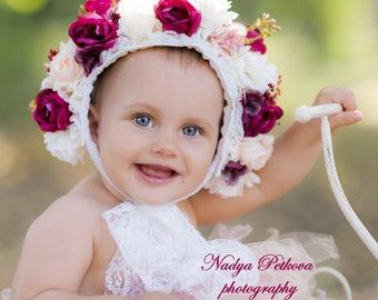 Sitter Floral Bonnet- Spring colourful. Flower bonnet- Designed by anilita R&T. Photography Props, baby bonnet.