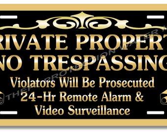 "Private Property No Trespassing Aluminum Video Surveillance Security Sign 6""x12"""