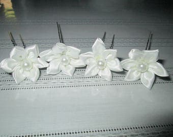 SET of 2 hair pins, white satin flower hair clip