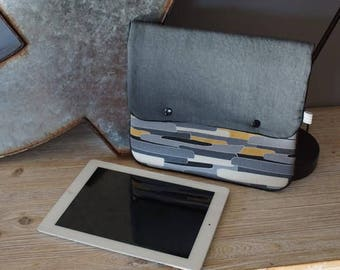Cover personalized Ipad or tablet in grey and cotton linen mustard and black