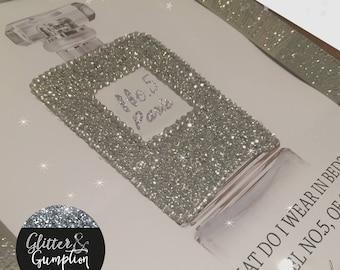 Perfume glitter chanel inspired bottle Marilyn Monroe Quote frame