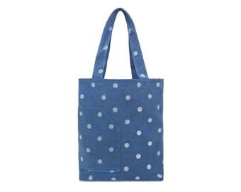 Cotton Tote bag - Denim bag - Polka dot - Ladies Casual bag - Fabric Market bag - Beach bag- Zip pocket bag- Woman bag- Shoulder bag- Girl B