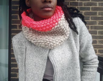Neon Chunky Hand Knit Cowl Snood, Knitted Scarf