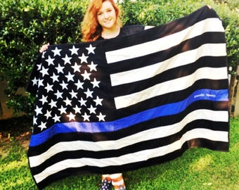 Thin Blue Line - American Flag Quilt - Police Officer - Thin Blue Line Gift - Sheriff Gift - Deputy Gift - State Patrol - Police Quilt - LEO