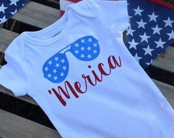 Merica sunglasses onesie/shirt
