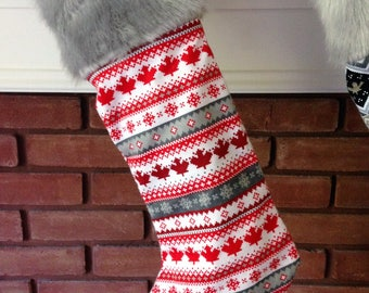 CLEARANCE - Christmas in July Sale - Christmas Clearance - Maple Leaf Stockings - Christmas Stockings - Faux Fur Stockings - Canadiana
