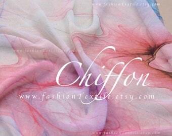 Pink Blue Chiffon Fabric by the yard pastel chiffon