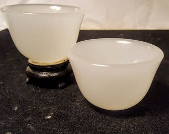 Chinese White Jade or Mutton-fat jade Small, Bowls