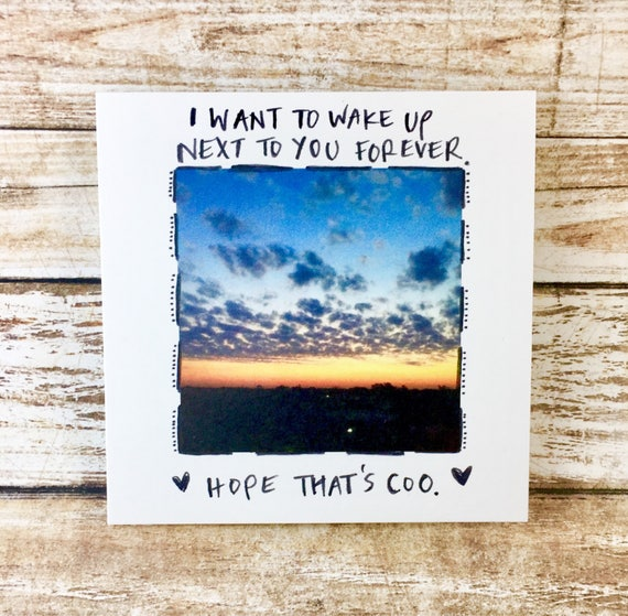 Wake up next to you, love you forever,I love you card unique, i love you card funny, sidesandwich, card for her, fiance card, handwritten
