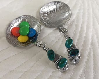 CANDY / NUT SCOOP, nut spoon, candy scoop, tea bag holder, serving utensil, etched spoon, beaded spoon, bumble bee