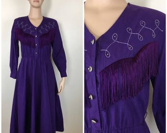 Vintage Womens 1980s Lilia Smith Purple Country Western Long Sleeve Midi Dress with Fringe and Embroidery | Size M