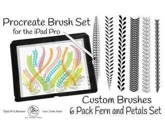 Procreate Custom Brush Set of 6 Fern and Petal Brushes for Illustration on the iPad Pro with Apple Pencil