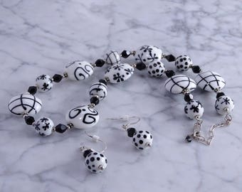 """Black / White Porcelain  Bead Necklace (15"""" to 18"""") & Earrings (pierced)"""