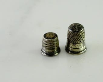 Two Antique Sewing Thimbles Sterling  (bb)