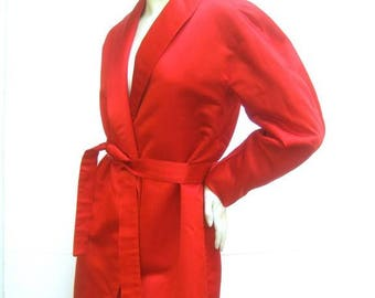 Cherry Red Halston Couture Belted Silk Jacket. 1970's.