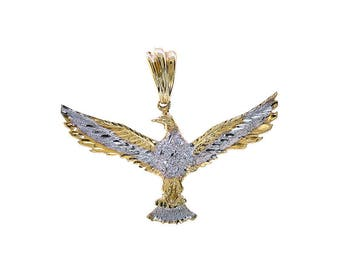 14k White Yellow Gold Diamond Cut Flying Eagle Pendant