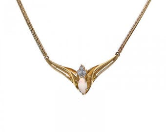 0.50 Carat Marquise Opal Necklace With Diamond Accent 14K Yellow Gold