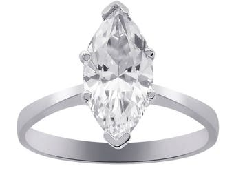 3.00 Carat Marquise Cut CZ Engagement Ring 14K White Gold
