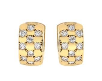 0.60 Carat Diamond Chess Pattern Huggie Earrings 14K Yellow Gold