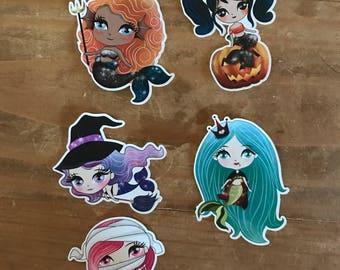 Halloween mermaid die cuts and stickers. Costume mermaids. Would look cute in a planner, travelers notebook, scrapbook or memory planner.