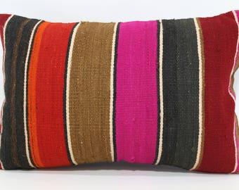 16x24 Multicolor Kilim Pillow Sofa Pillow 16x24 Striped Kilim Pillow Turkish Kilim Pillow Boho Pillow Ethnic Pillow Cushion Cover SP4060-567