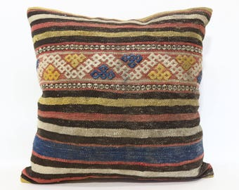 20x20 Throw Pillow Sofa Pillow 20x20 Patterned Kilim Pillow Handwoven Striped Kilim Pillow Cushion Cover   SP5050-1782