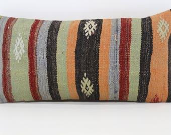 12x24 Turkish Kilim Pillow Throw Pillow Decorative Kilim Pillow 12x24 Handwoven Kilim Pillow Boho Pillow Cushion Cover SP3060-981