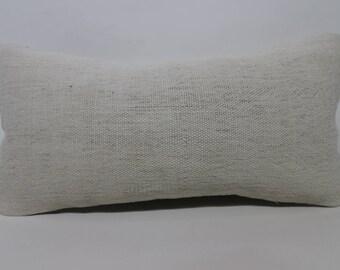 10x20 Lumbar Kilim Pillo White Kilim Pillow Decorative Kilim Pillow 10x20 Turkish Kilim Pillow Boho Pillow Cushion Cover SP2550-1418