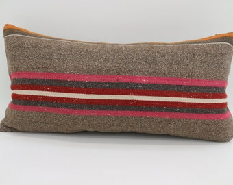 12x24 Multicolor Kilim Pillow Throw Pillow 12x24 Lumbar Pillow Pink Striped Kilim Pillow Boho Pillow Gray Pillow Cushion Cover  SP3060-1723