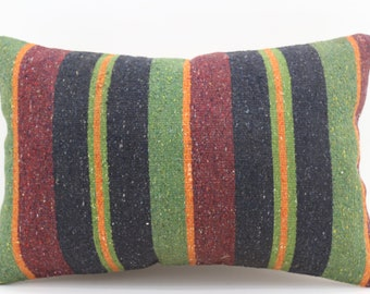 16x24 Red and Green Kilim Pillow Cover Multicolor Pillow Turkish Decorative Kilim Pillow 16x24 Pillow Boho Pillow Striped Pillow SP4060-1355