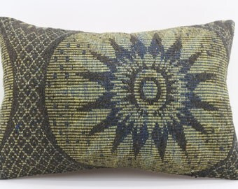 16x24 Kelim Kissen Pillow Floral Pillow Turkey Decorative Kilim Pillow 16x24 Pillow Green and Black Pillow Geometric Pillow SP4060-1375