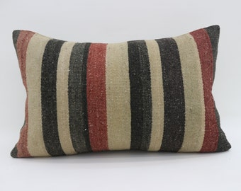 16x24 Kelim Kissen Pillow Cover Striped Pillow 16x24 Multicolor Kilim Pillow Throw Pillow Boho Pillow Black,White and Red Pillow SP4060-1382