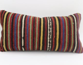 Striped Pillow Red Pillow 10x20 Multicolored Pillow Striped kilim Pillow 10x20 Pillow Cover Turkish Pillow Decorative Pillow SP2550-1733