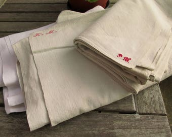 Bedsheet - antique linen - handwoven organic Linen - red monogram WD