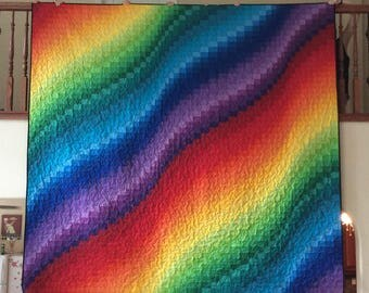 Made to Order, Bargello Quilt, Rainbow Quilt, Lap Quilt, Twin, Double, Full, Queen, King, Bed Quilt, Blanket, Modern Quilt, Custom Quilt